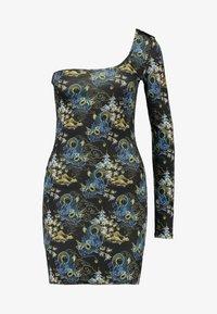 NEW girl ORDER - ORIENTAL PRINT CUT OUT ONE SLEEVE BOYCON DRESS - Robe fourreau - black - 4