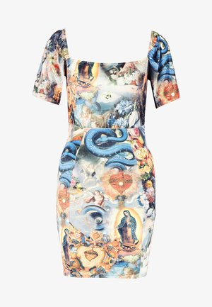 HOLY PRINT VELVET PUFFY SLEEVE MINI DRESS - Tubino - multi