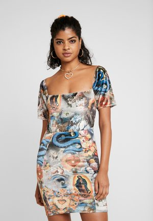 HOLY PRINT VELVET PUFFY SLEEVE MINI DRESS - Pouzdrové šaty - multi