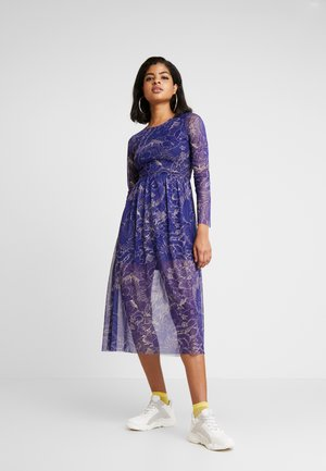 FLOWER PRINT MIDI SKATER DRESS - Robe d'été - blue