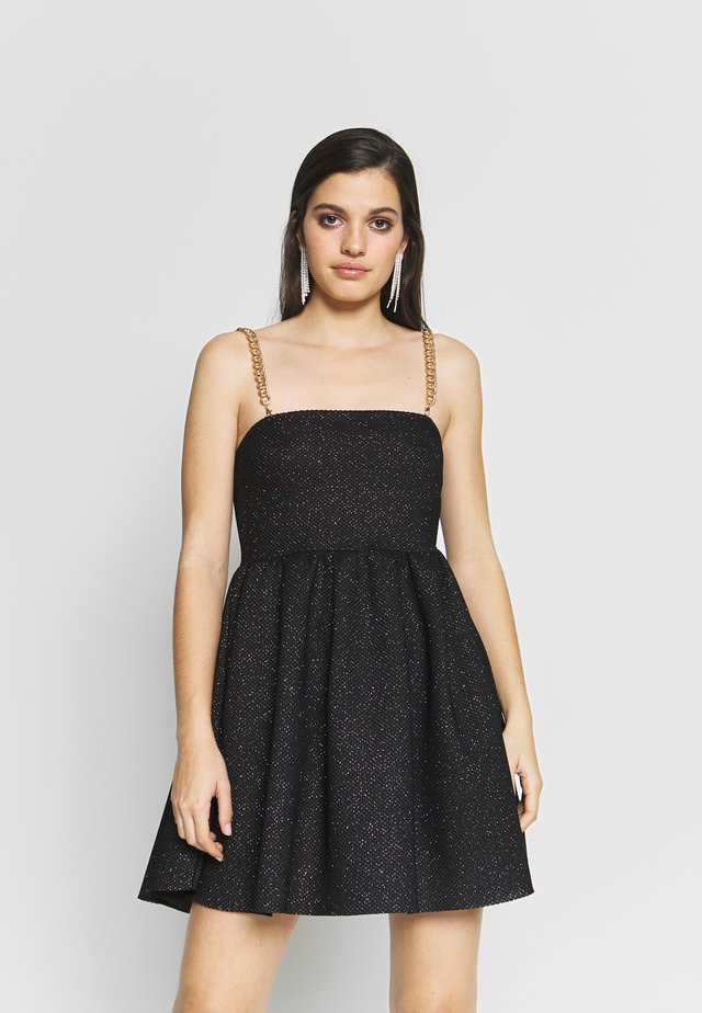 GLITTER CHAIN STRAP DRESS - Cocktailjurk - black