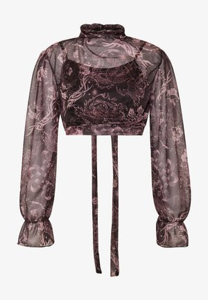 TATTOO TIE - Long sleeved top - black