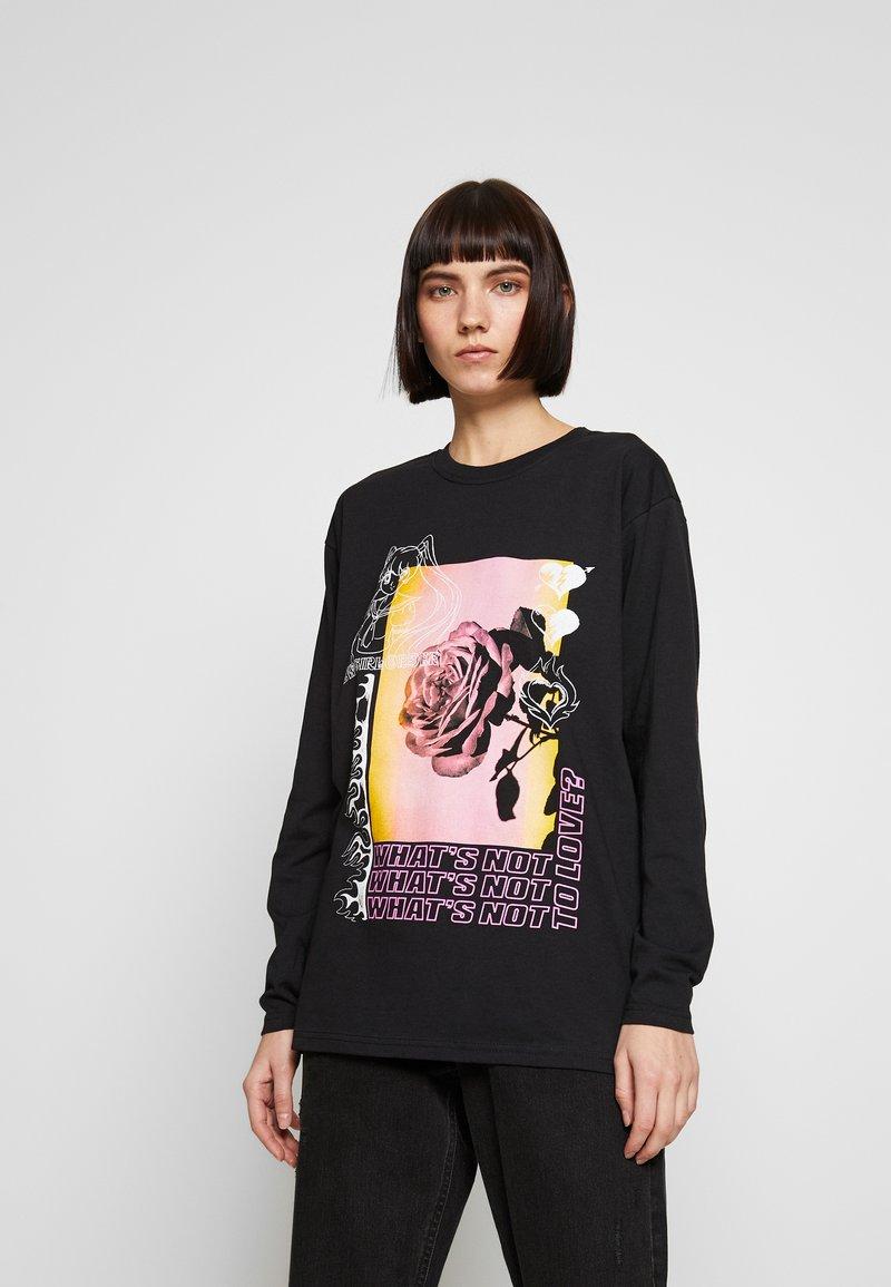 NEW girl ORDER - WHATS NOT FLOWER - T-shirt à manches longues - black