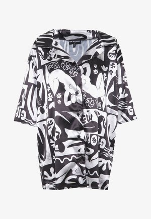 ABSTRACT - Button-down blouse - black/white