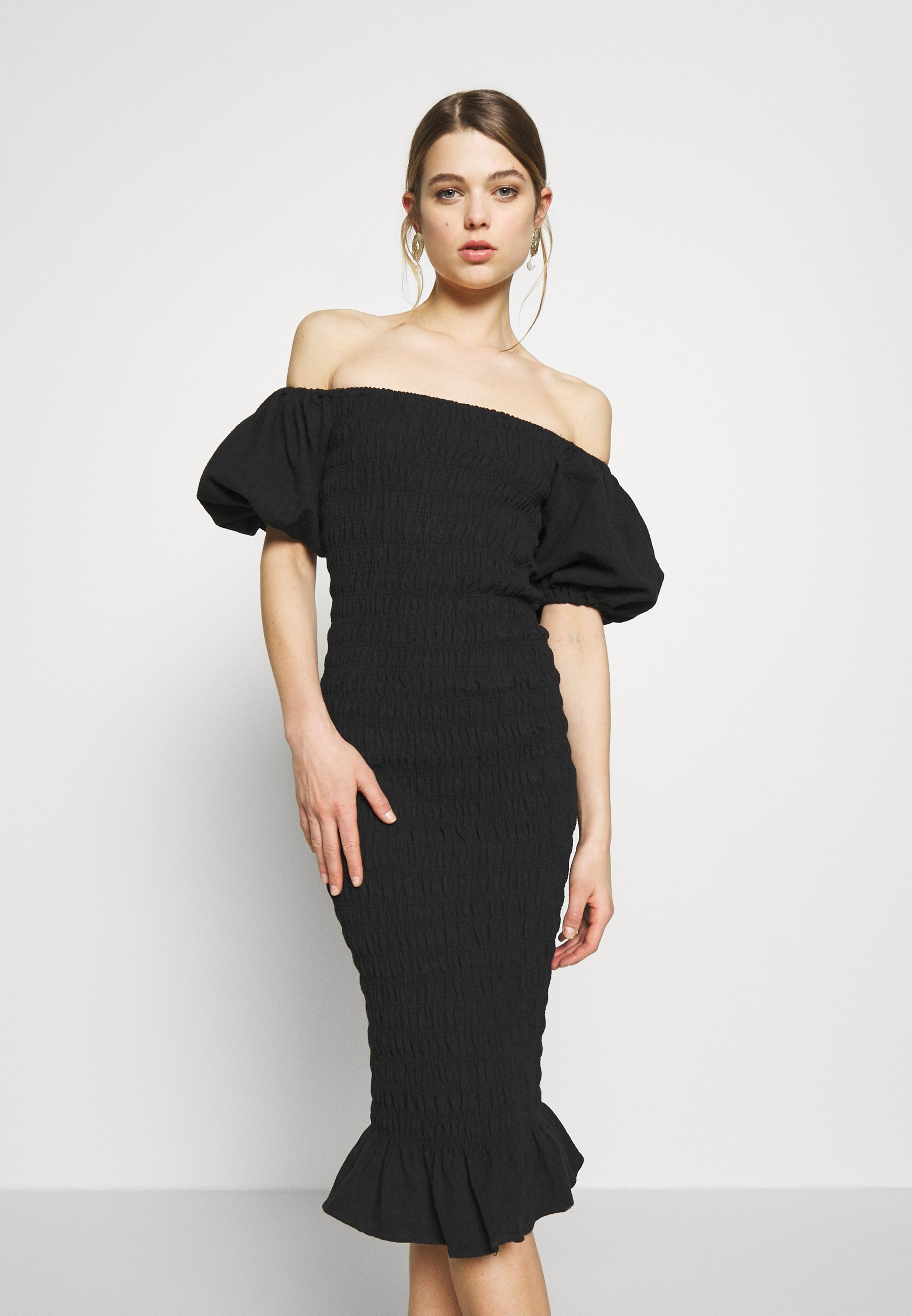 Never Fully Dressed Jojo Black Midi Dress - Tubino QVCiu