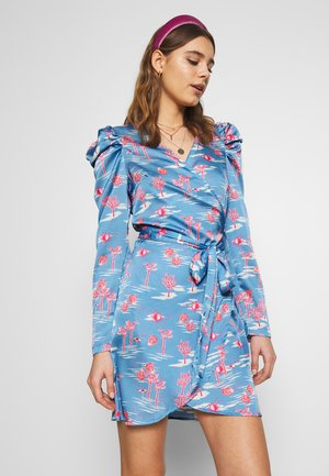 MINI BAHAMA WRAP DRESS - Day dress - blue