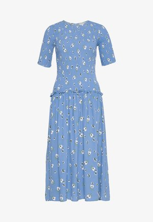 RUCHED FLORAL DRESS - Day dress - blue