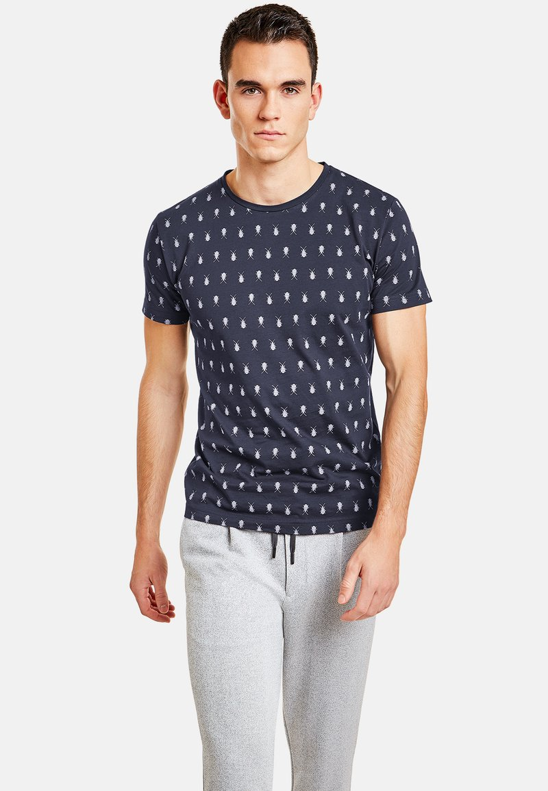 NEW IN TOWN - MIT INSEKTENPRINT - Print T-shirt - night blue