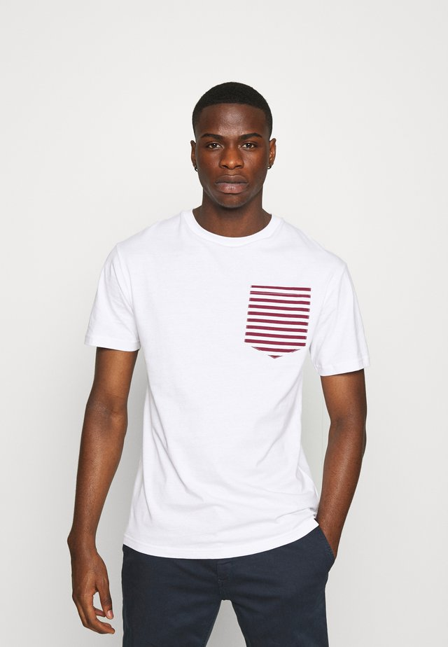 ROPE TEE - T-shirt imprimé - white/burgundy