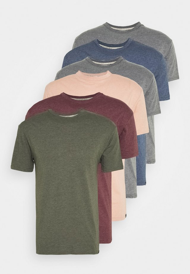 MULTI TEE MARLS 7 PACK - T-shirts - dark blue/dark grey/bordeaux/tan/dark olive