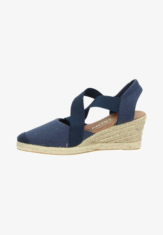 Sandalen met sleehak - blauw