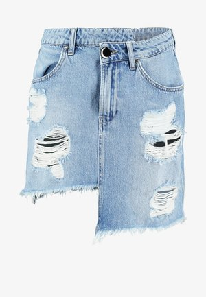 DESTROYED WRAPPED MINI - Denim skirt - blue