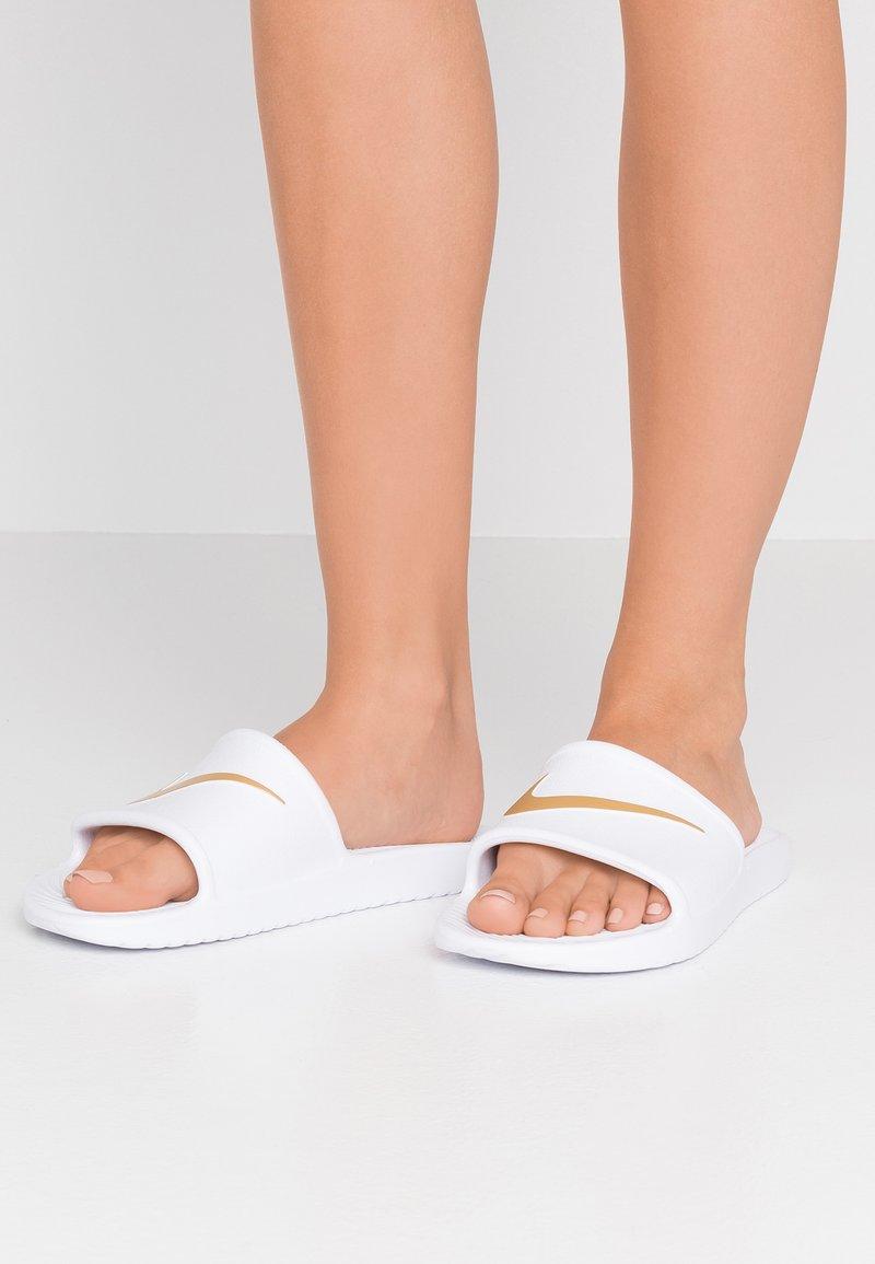 Nike Sportswear - KAWA SHOWER - Pool slides - white/metallic gold