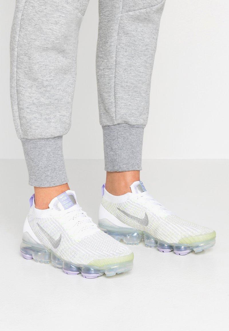 Nike Sportswear - AIR VAPORMAX FLYKNIT - Trainers - true white/barely volt/purple agate/metallic silver