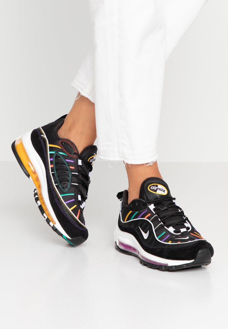 Nike Sportswear - AIR MAX 98 PRM - Sneaker low - black/flash crimson/kinetic green/psychic purple/universe gold/white