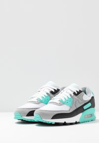 Nike Sportswear - AIR MAX 90 - Sneakers laag - white/particle grey/hyper turquise/black/light smoke grey - 4