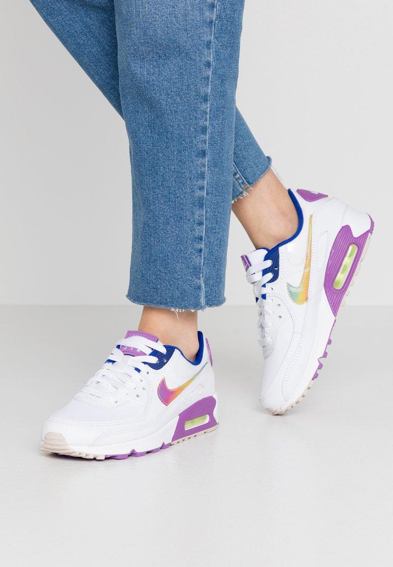 Nike Sportswear - AIR MAX 90 - Trainers - white/multicolor/purple/barely volt/hyper blue/hydrogen blue