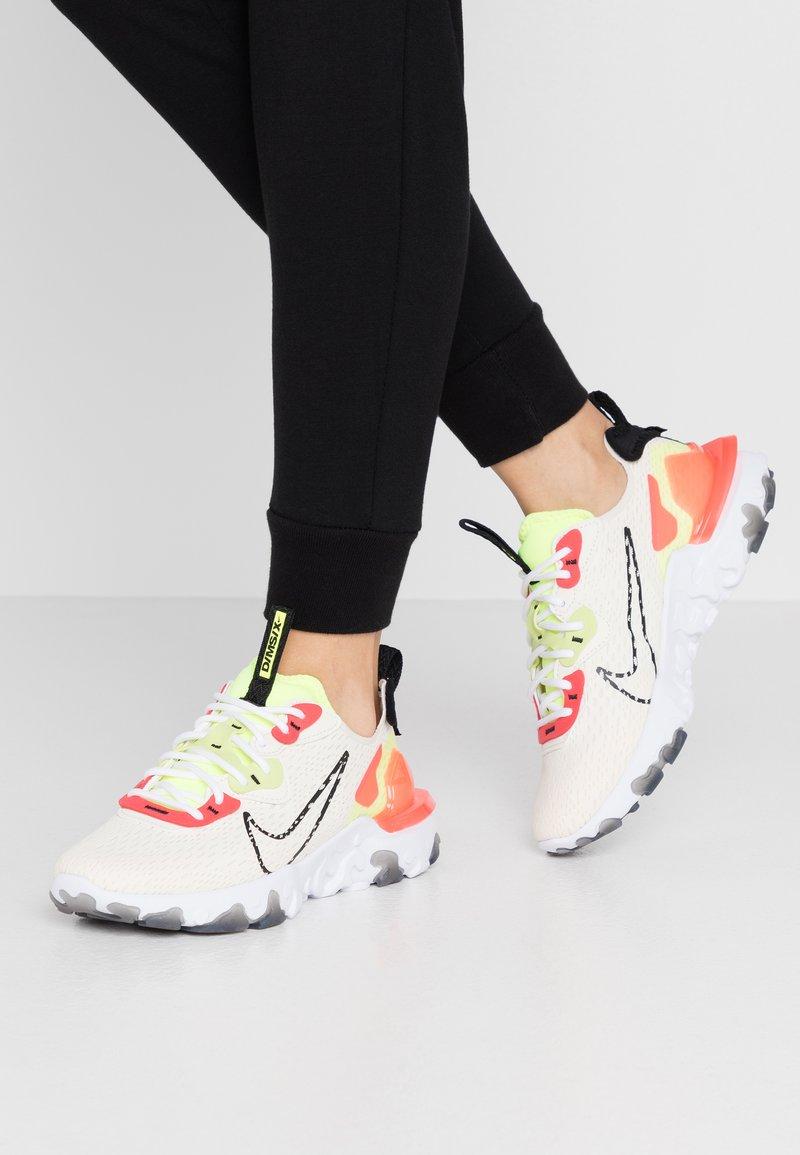 Nike Sportswear - REACT VISION - Trainers - pale ivory/black/volt/laser crimson