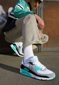 Nike Sportswear - AIR MAX 90 - Sneakers - white/particle grey/light smoke grey/black/hyper turq - 8