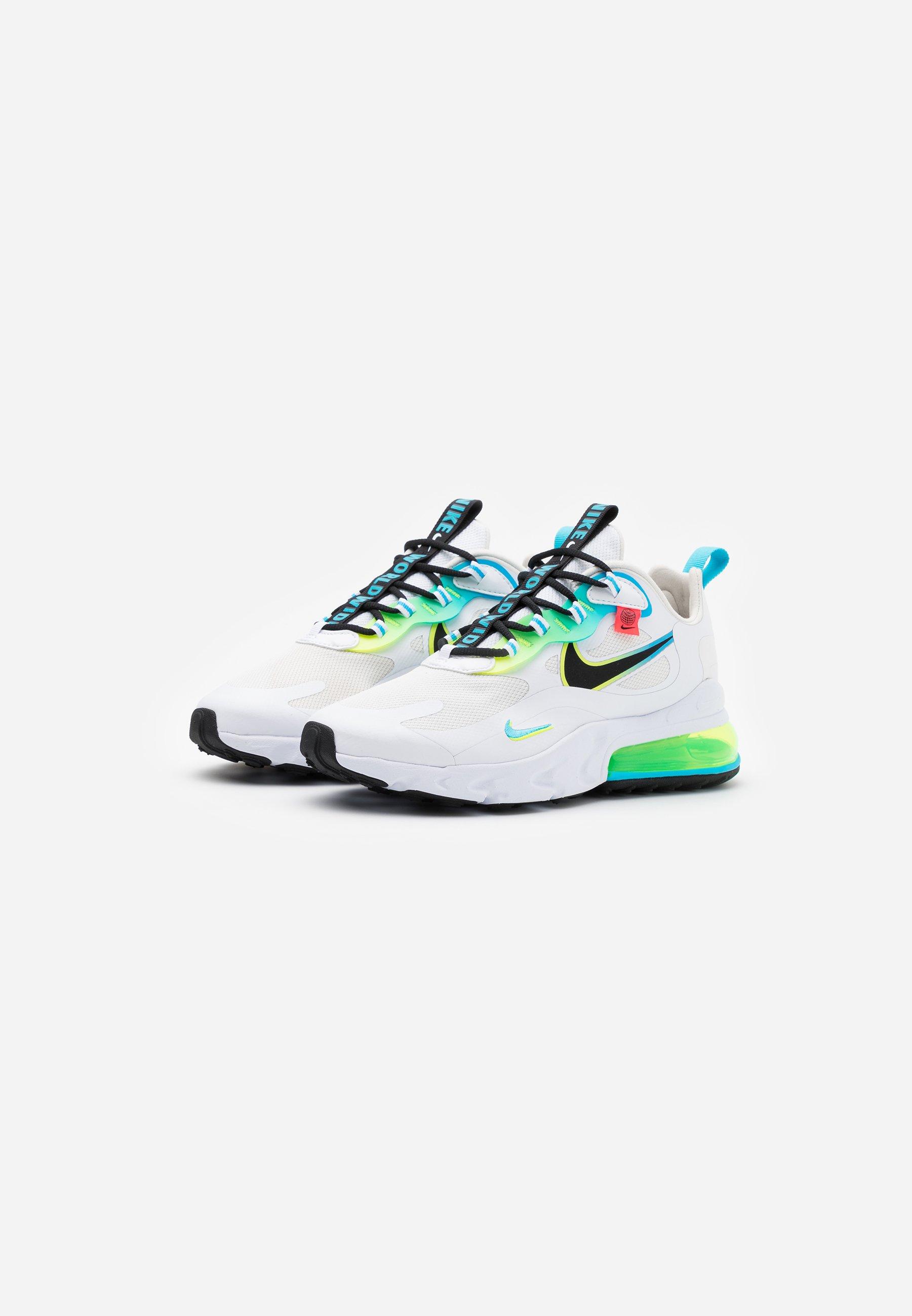 Nike Sportswear Air Max 270 React - Sneakers Laag White/black/blue Fury/volt/flash Crimson Goedkope Schoenen