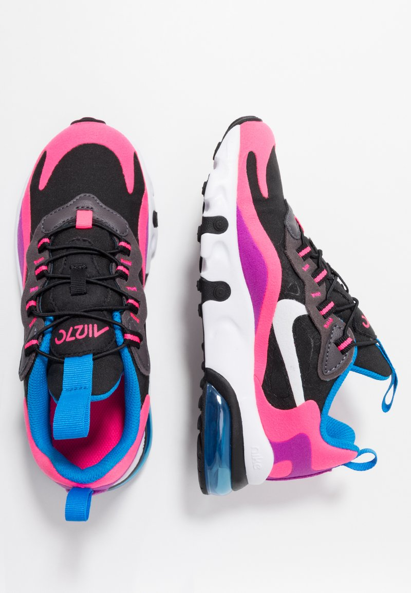 Nike Sportswear - AIR MAX 270 REACT - Mocassins - black/white/hyper pink/vivid purple