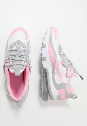 AIR MAX 270 REACT - Sneakers basse - white/pink/light smoke grey/metallic silver