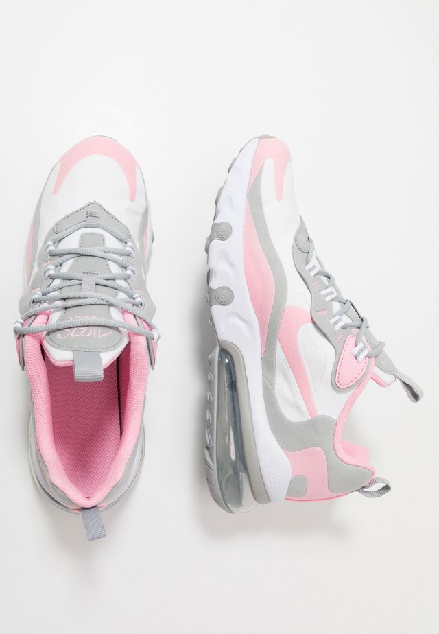 AIR MAX 270 REACT - Tenisky - white/pink/light smoke grey/metallic silver