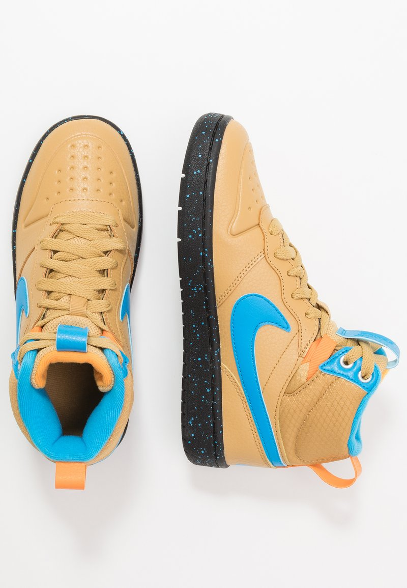 Nike Sportswear - COURT BOROUGH MID  - Höga sneakers - club gold/blue hero/kumquat/black