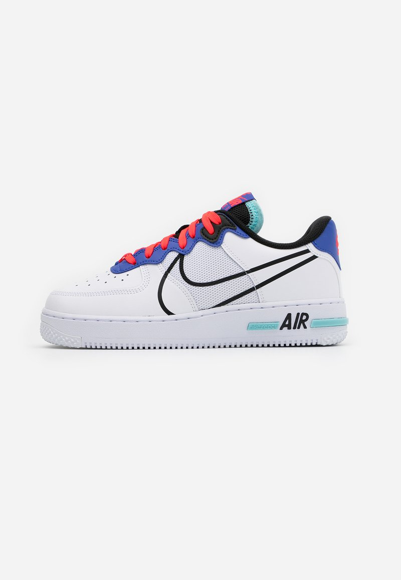 Nike Sportswear - AIR FORCE 1 REACT - Tenisky - white/black/astronomy blue/laser crimson/bleached aqua
