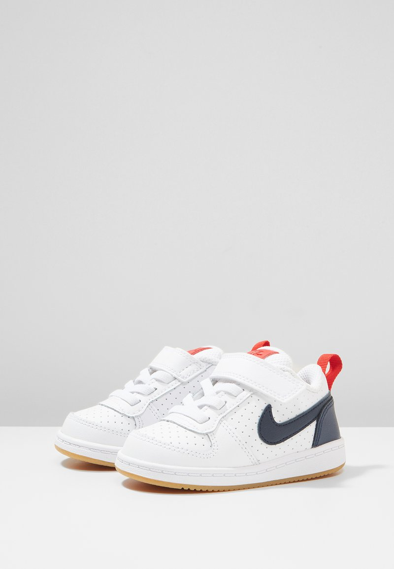 Nike Sportswear - COURT BOROUGH LOW - Chaussures premiers pas - white/obsidian/university red/gum light brown