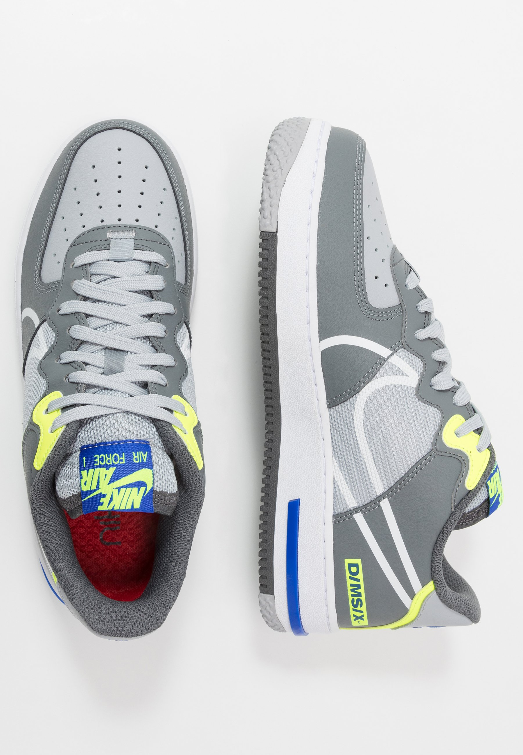 Nike Sportswear AIR FORCE 1 REACT - Sneakersy niskie - wolf grey/white/smoke grey/dark grey/volt/racer blue