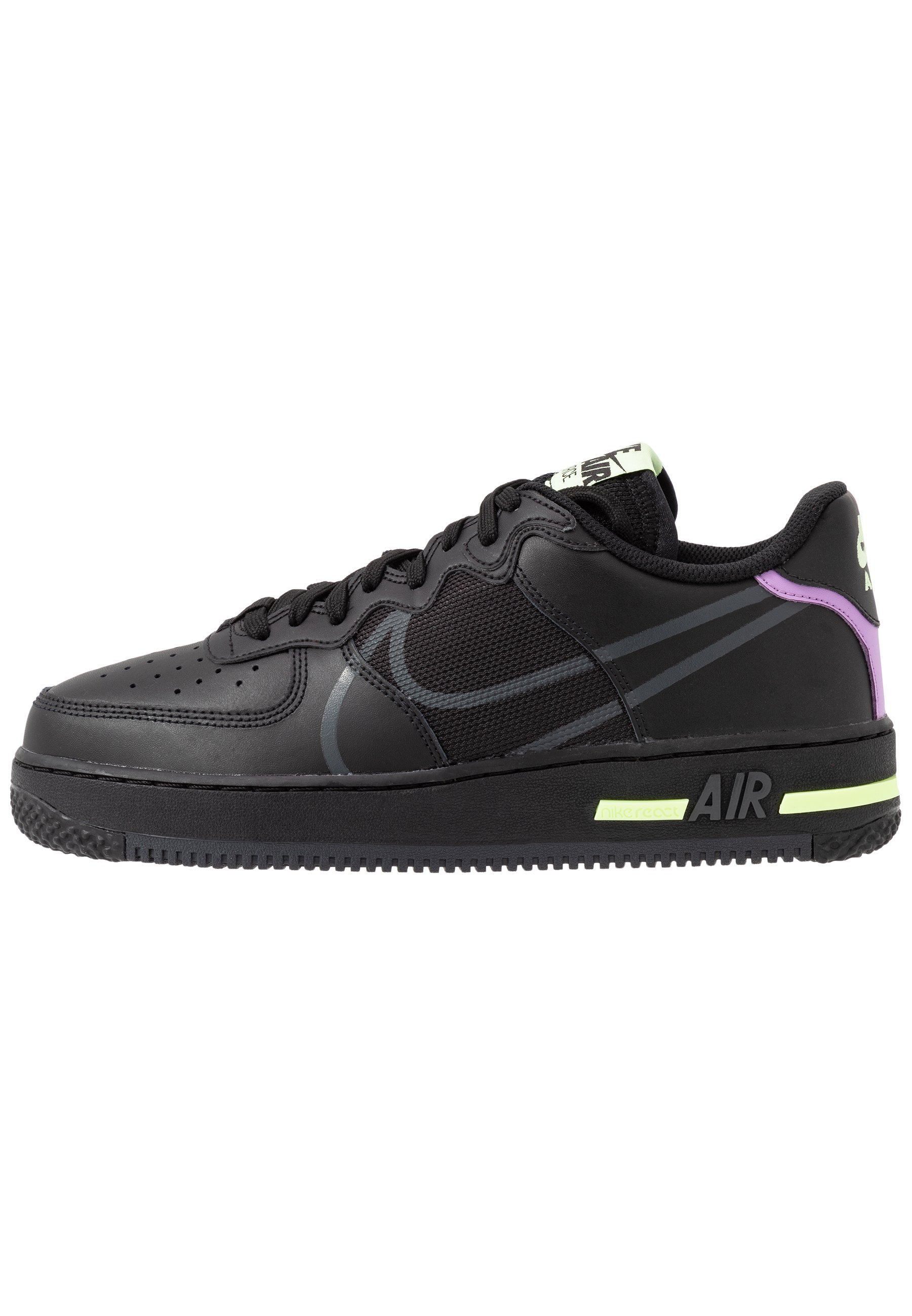 Nike Sportswear AIR FORCE 1 REACT - Baskets basses - black/anthracite/violet star/barely volt/university red