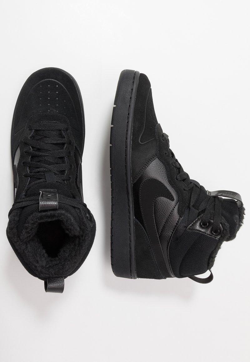 Nike Sportswear - COURT BOROUGH MID 2 BOOT WINTERIZED - Korkeavartiset tennarit - black/white