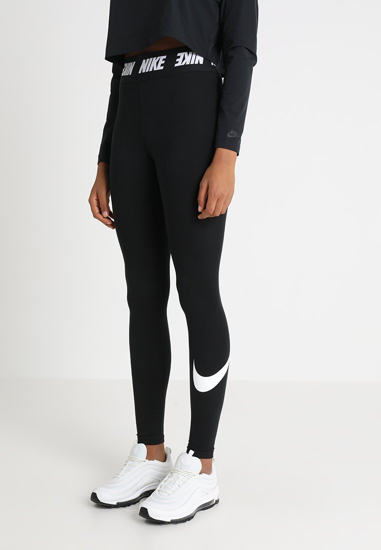 Nike Sportswear - CLUB  - Leggings - black/white