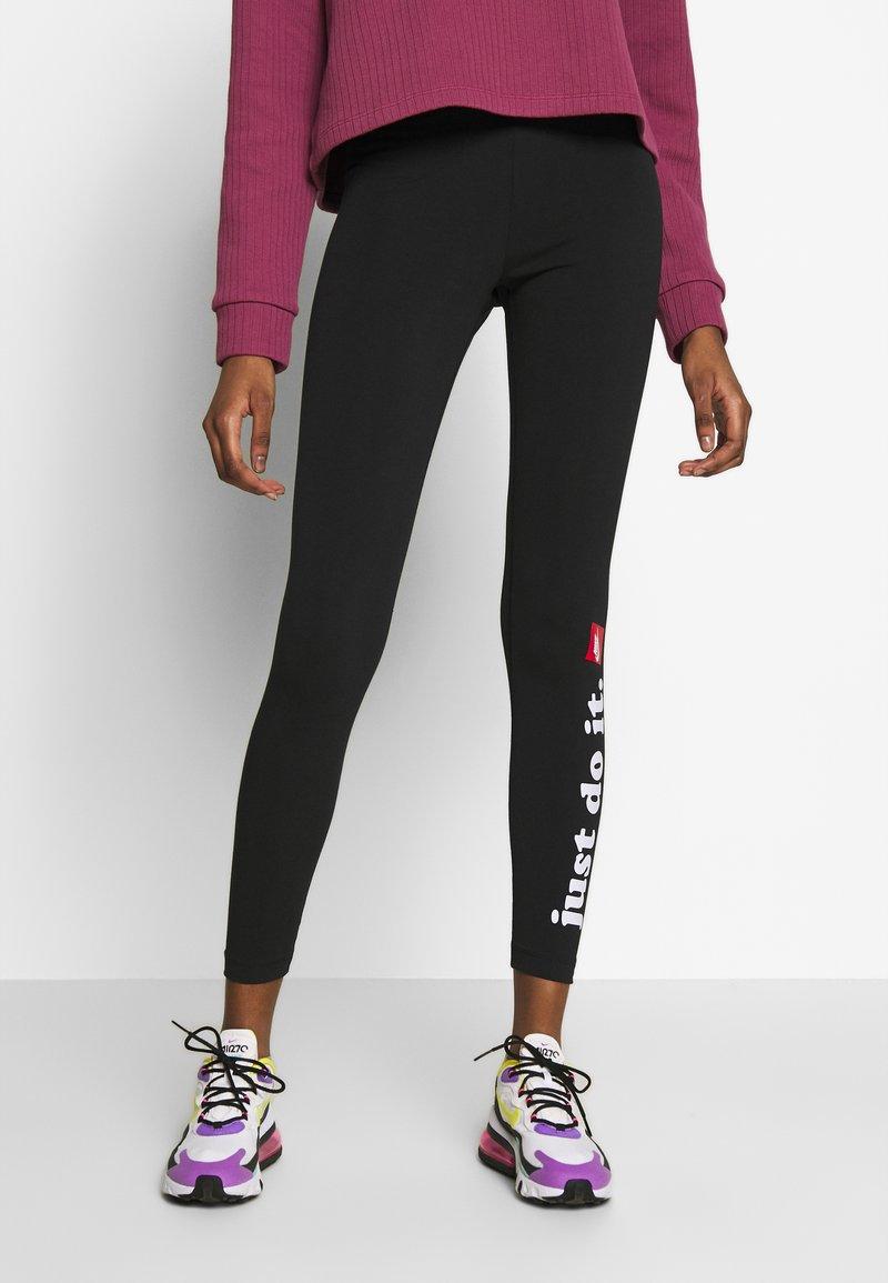 Nike Sportswear - CLUB - Leggings - Trousers - black/white