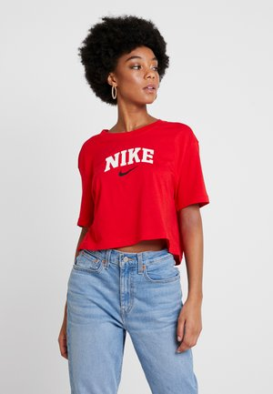 TEE VARSITY CREW CROP - Print T-shirt - university red/black