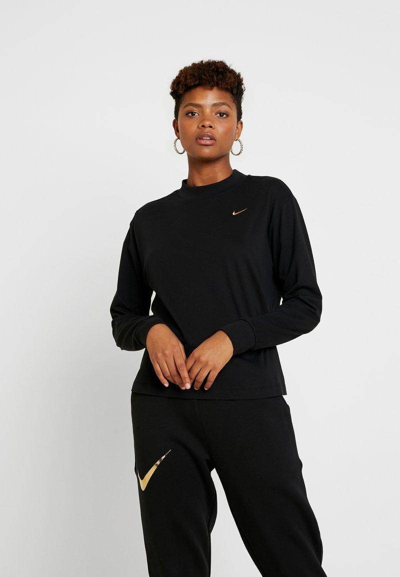 Nike Sportswear - Long sleeved top - black/metallic gold