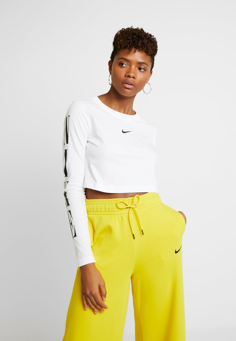 Nike Sportswear - TEE CROP - Bluzka z długim rękawem - white/black