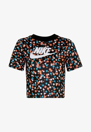 TOP FLORAL - T-shirt con stampa - black/(white)