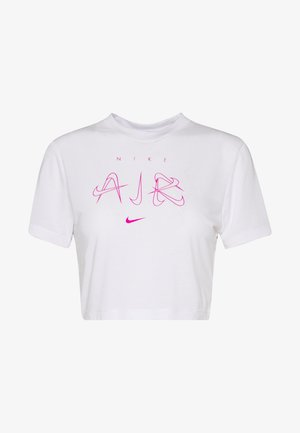 W NSW TEE SLIM CROP LUX PACK - Print T-shirt - white/fire pink
