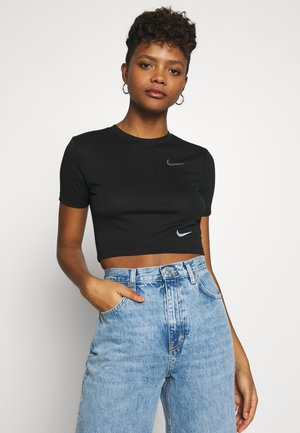 W NSW TEE SLIM CROP LBR - Camiseta estampada - black
