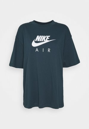 AIR TOP  - Print T-shirt - deep ocean/white