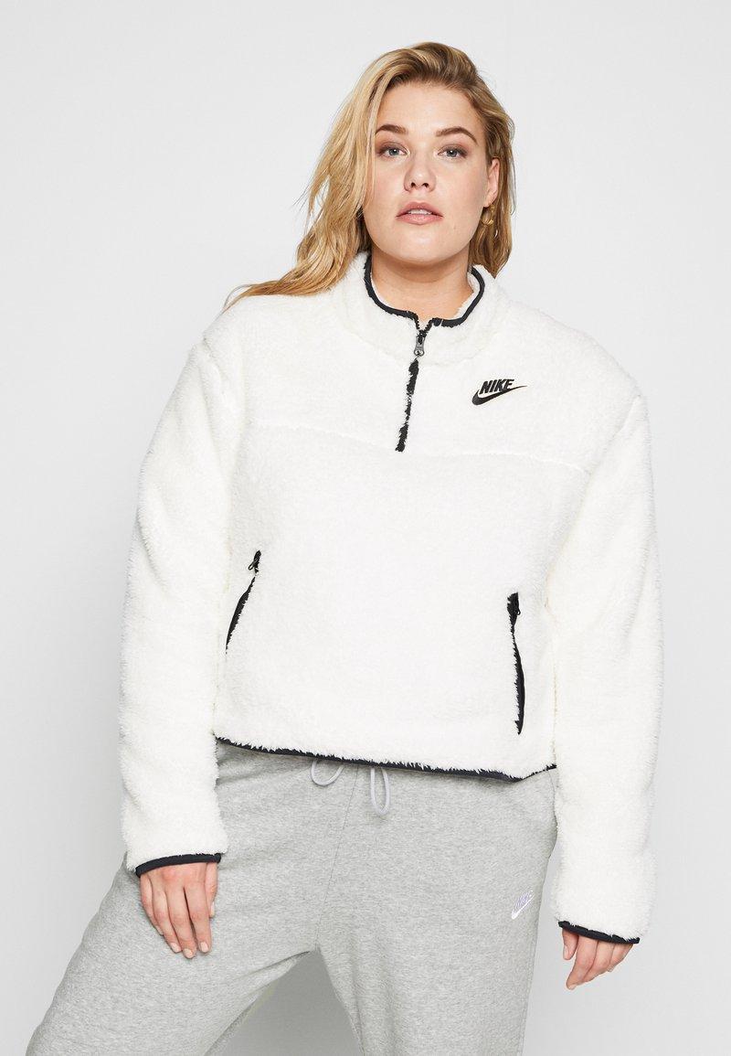 Nike Sportswear - W NSW FLC QZ PLUSH PLUS - Fleecegenser - pale ivory/black