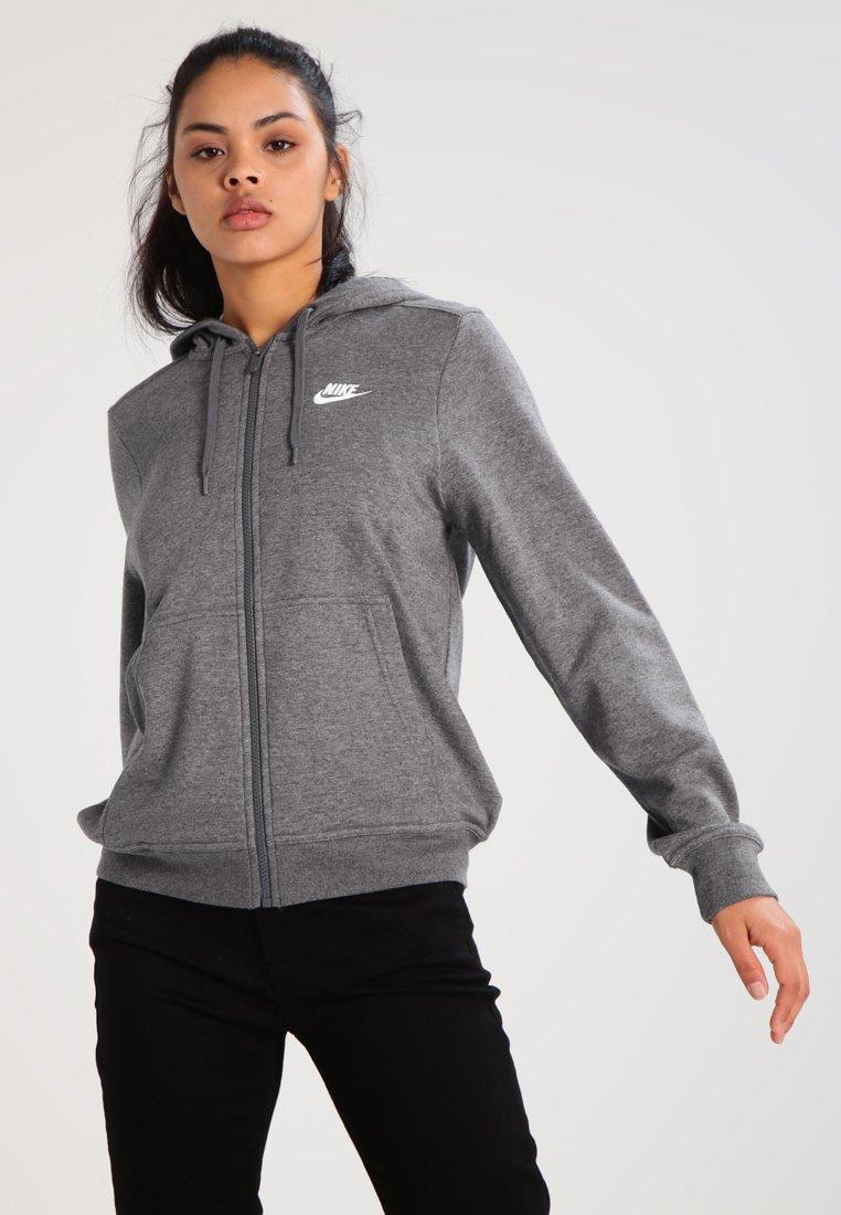 Nike Sportswear - W NSW FZ FLC - Sweatjacke - charcoal heather/dark grey/white