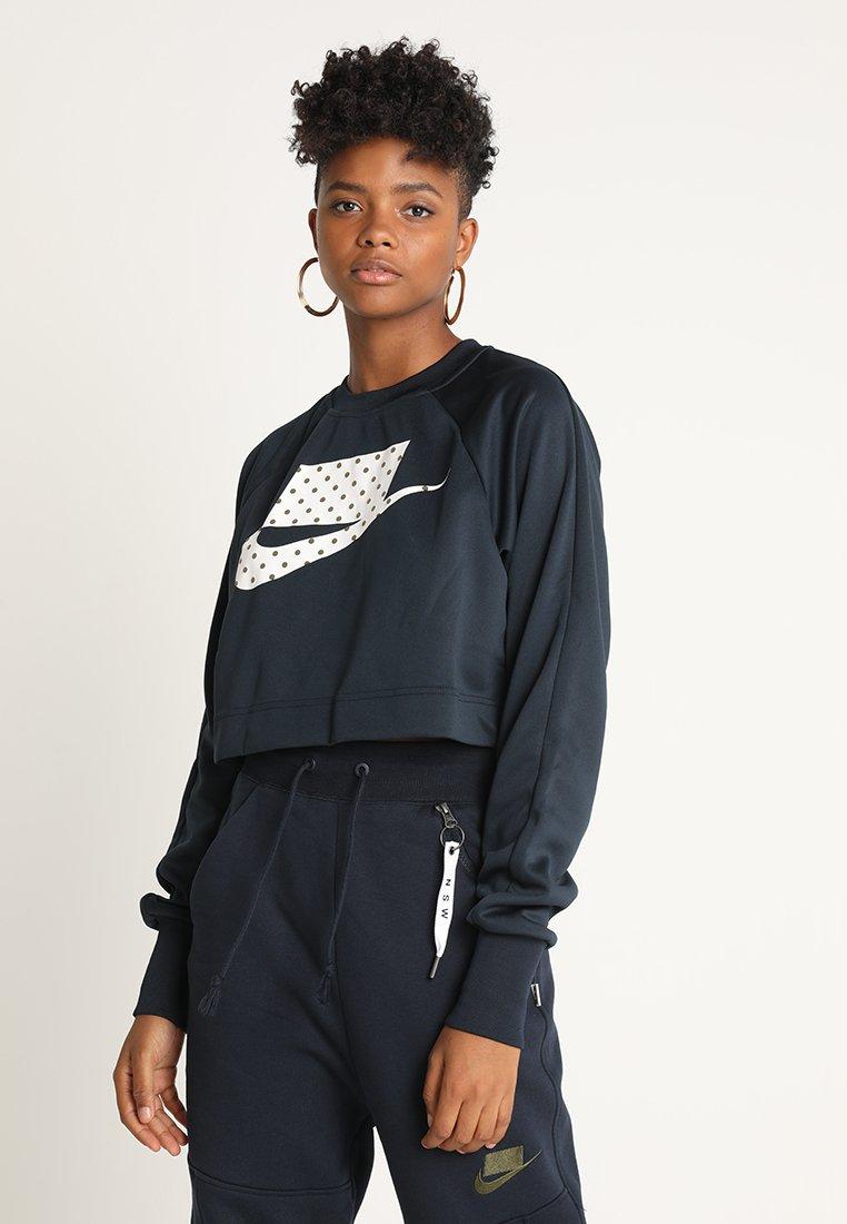 Nike Sportswear - CREW CROP - Langarmshirt - dark obsidian/white