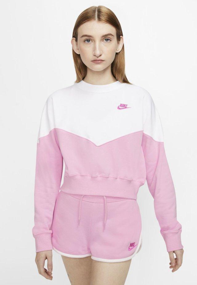 W NSW HRTG CREW FLC - Sweatshirt - pink rise/white/fire pink