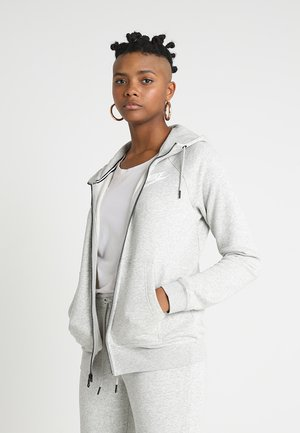 RALLY - Felpa aperta - grey heather/pale grey/white