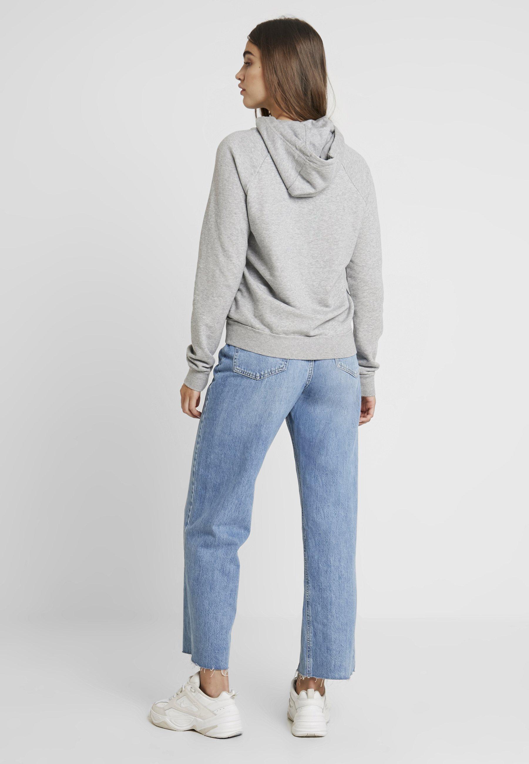 Nike Sportswear Hoodie - Luvtröja Dark Grey Heather/white