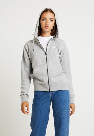 HOODIE - Zip-up hoodie - grey heather/white