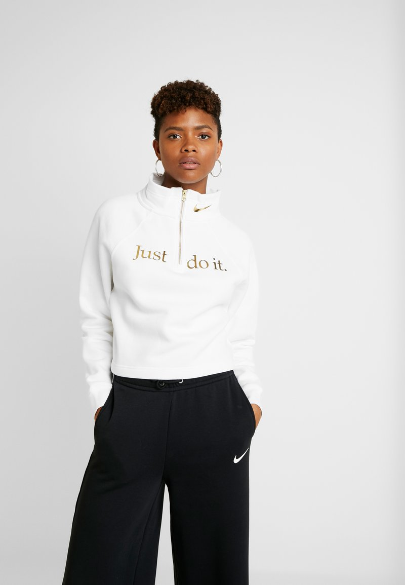 Nike Sportswear - FUNNEL ZIP SHINE - Felpa - white/metallic gold